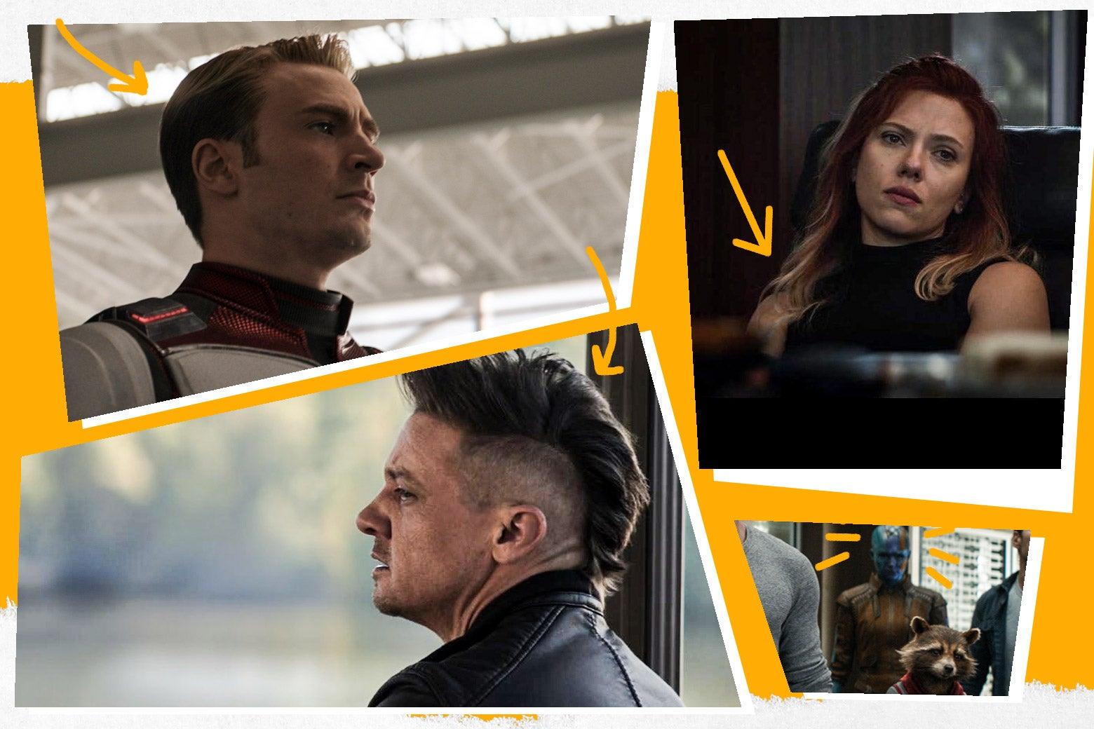 The hairstyles of Captain America, Black Widow, Hawkeye, and Nebula in Avengers: Endgame.