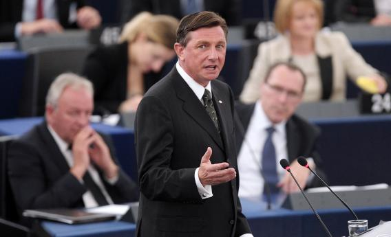 Slovenian President Borut Pahor delivers a speech on June 11, 2013, at the European Parliament in Strasbourg, eastern France.