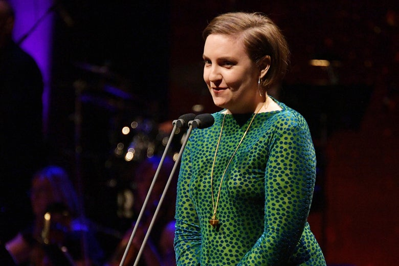 NEW YORK, NY - MAY 29:  Actress Lena Dunham speaks onstage during Lincoln Center's American Songbook Gala at Alice Tully Hall on May 29, 2018 in New York City.  (Photo by Dia Dipasupil/Getty Images for Lincoln Center)