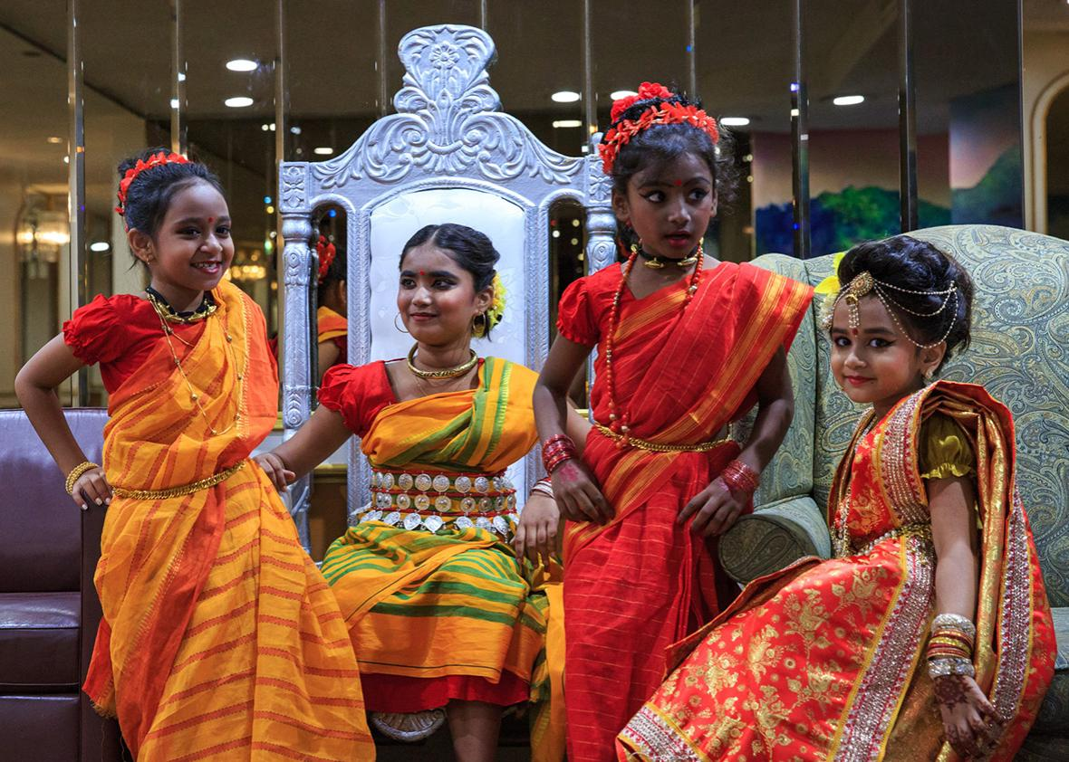 Girls prepare to perform during a celebration for Time Television, a bilingual station catering to New York City's Bangladeshi and South Asian community on September 26th, 2016 in Queens, New York.