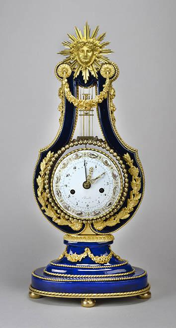 """Mantel Clock in the Form of a Lyre"", from the Sèvres Porce,""Mantel Clock in the Form of a Lyre"", from the Sèvres Porcelain Manufactory in France, circa 1780-1800."