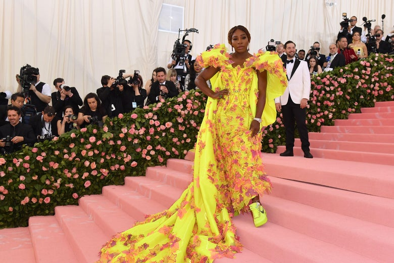 """Tennis player Serena Williams arrives for the 2019 Met Gala at the Metropolitan Museum of Art on May 6, 2019, in New York. - The Gala raises money for the Metropolitan Museum of Arts Costume Institute. The Gala's 2019 theme is Camp: Notes on Fashion"""" inspired by Susan Sontag's 1964 essay """"Notes on Camp""""."""