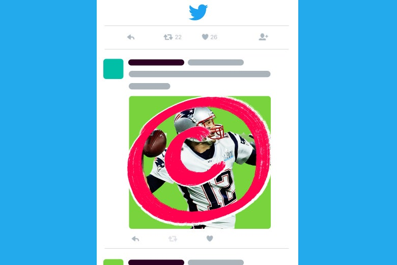 Photo illustration: The copyright symbol is superimposed on a mocked-up social media post with Tom Brady's photo.