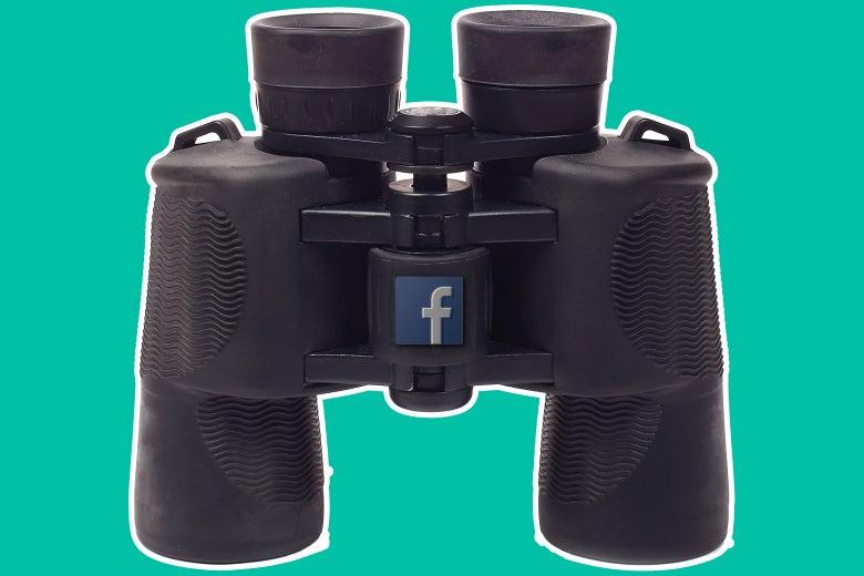 Binoculars with the Facebook logo on them.