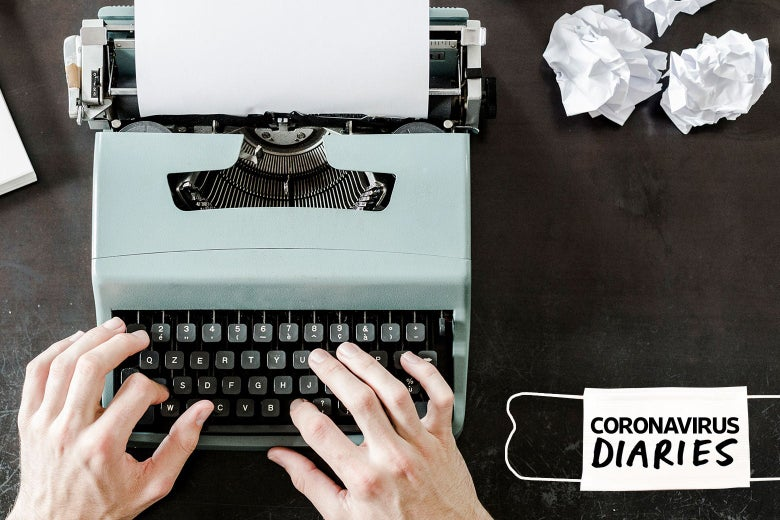 "Hands typing on a typewriter next to balled-up papers and a surgical mask that says ""Coronavirus Diaries"""