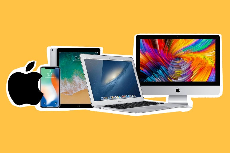 A collage of Apple products, including the iPhone, iMac, iPod, and Macbook Air.