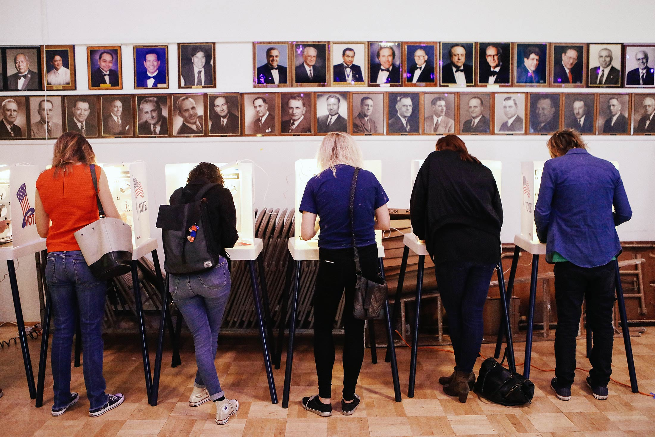 Voters cast their ballots at a Masonic Lodge on Tuesday in Los Angeles.