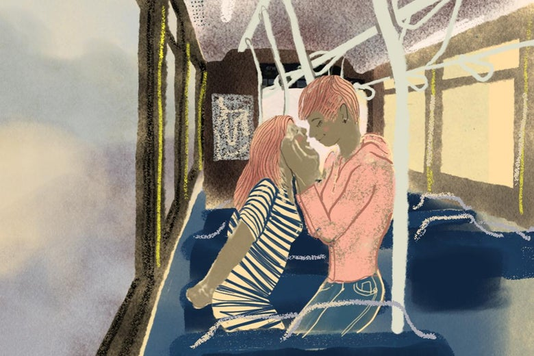 A drawing of two women kissing on a bus.