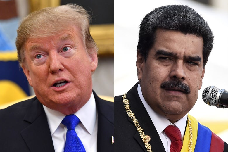 Donald Trump, left, and Nicolas Maduro