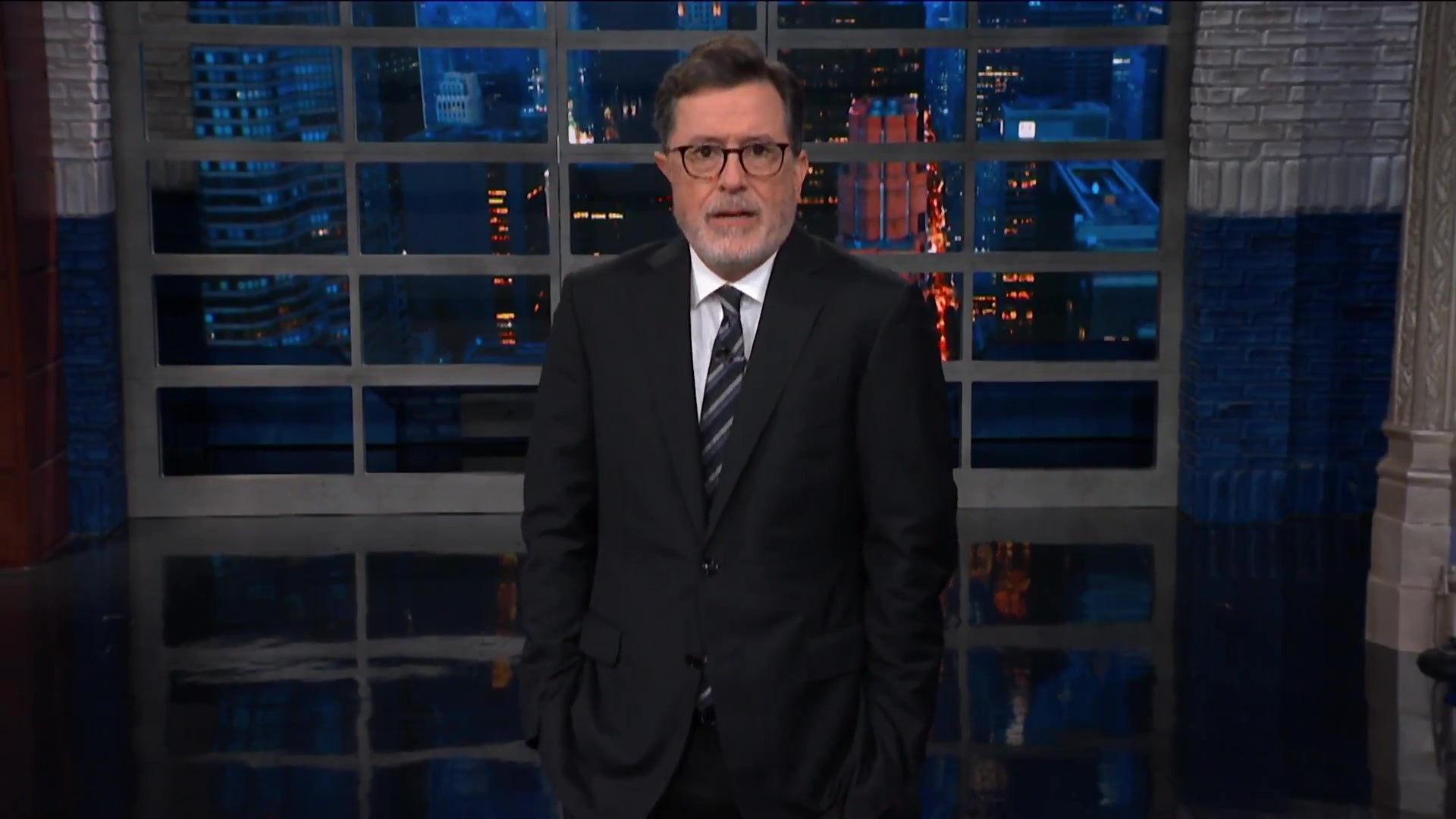 Host Stephen Colbert, delivering a monologue.