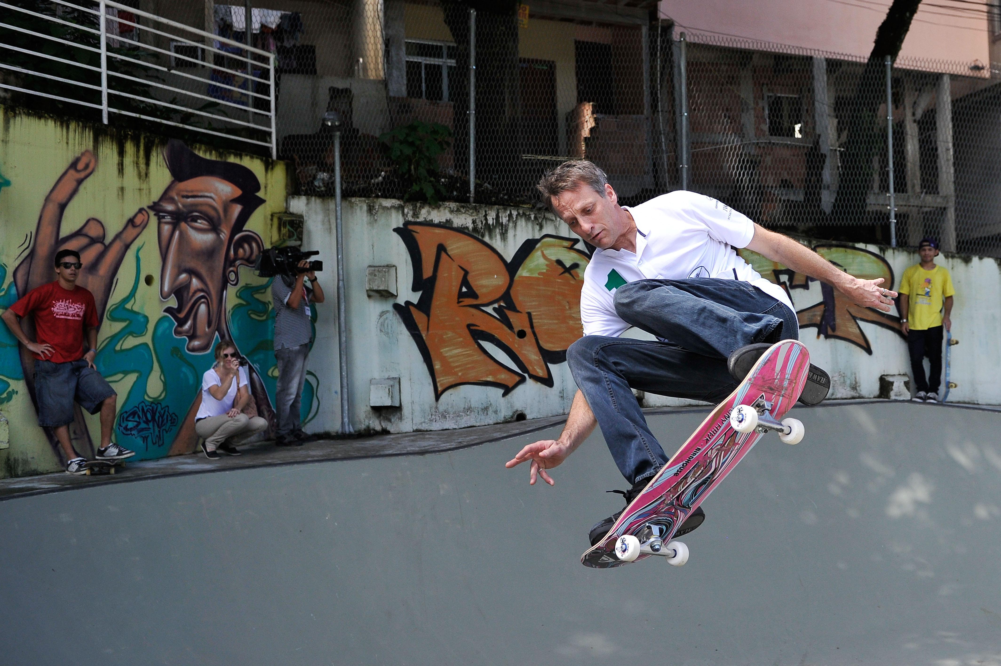 Tony Hawk skateboarding.