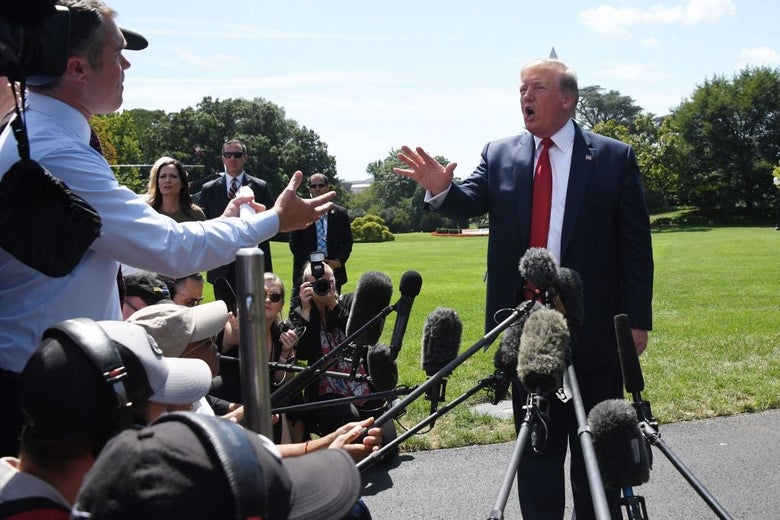 Donald Trump, standing outside the White House, speaks to a crowd of reporters.