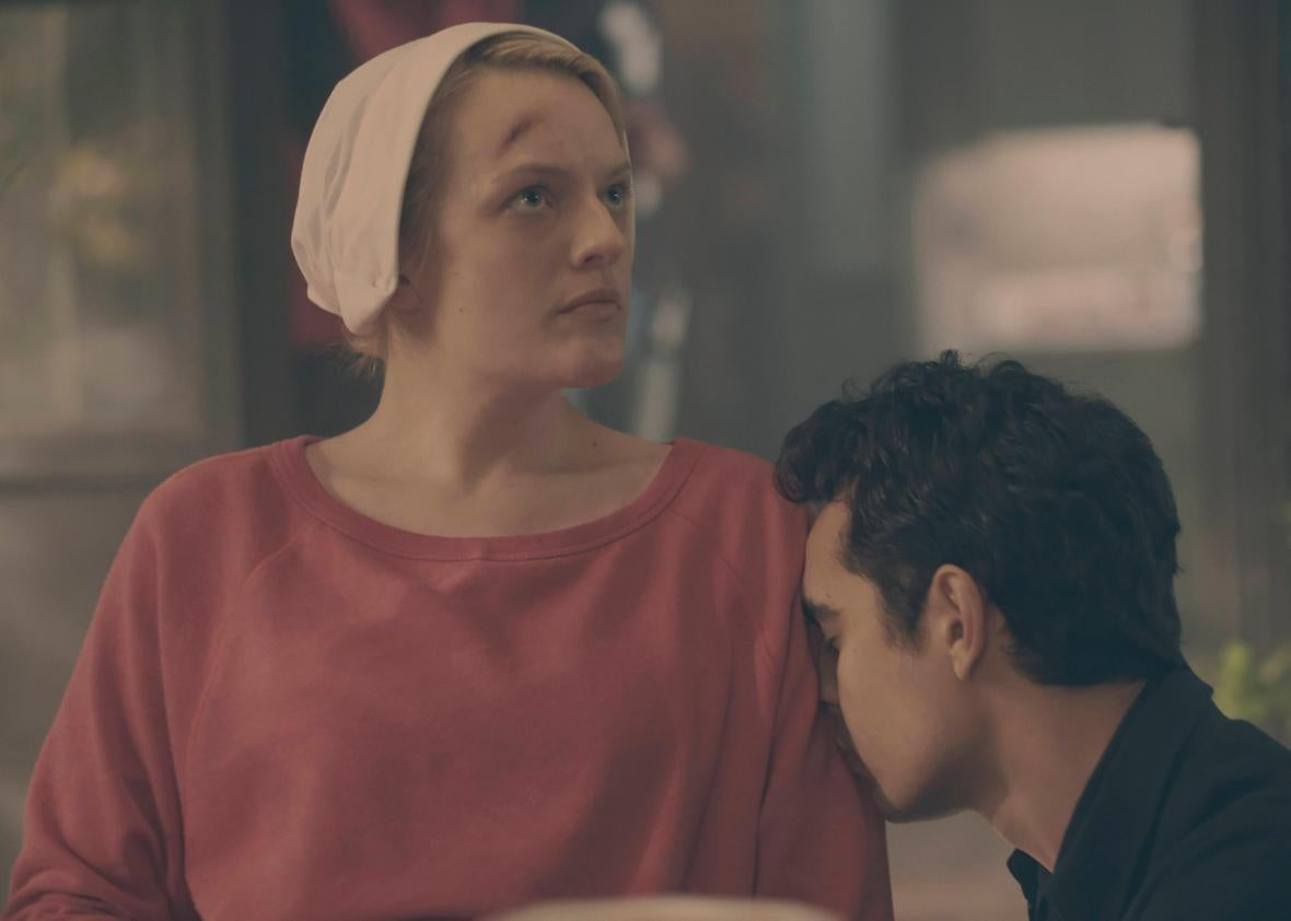 Elisabeth Moss and Max Minghella in The Handmaid's Tale finale