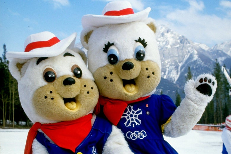 1987:  Portrait of 1988 Winter Olympic Games mascots 'Hidy' and 'Howdy' during the World Cup in Calgary, Canada. \ Mandatory Credit: Mike  Powell/Allsport