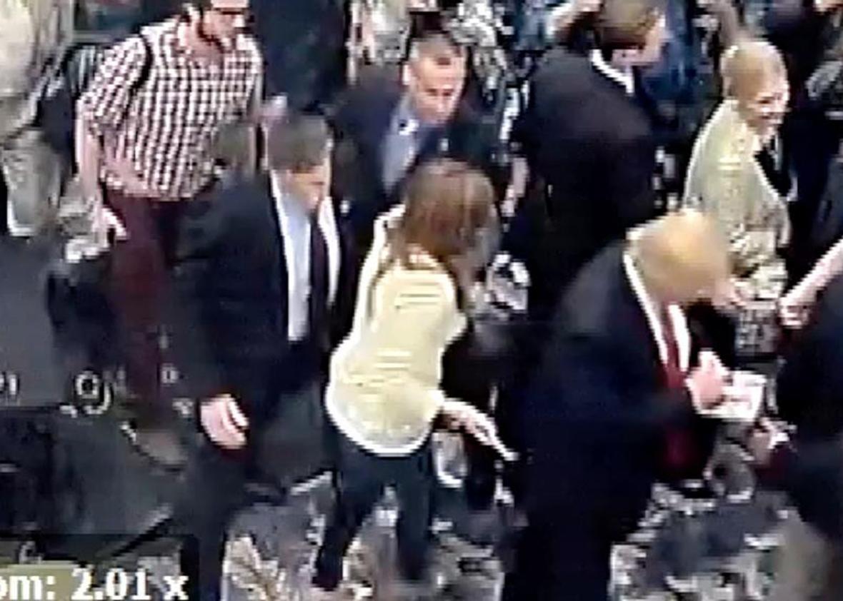 Corey Lewandowski shoving Michelle Fields.