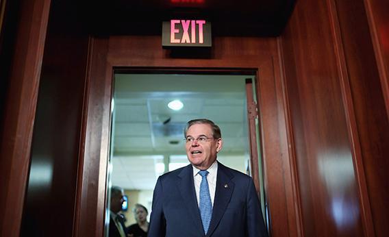 Senator Robert Menendez (D-NJ) arrives for a news conference at the U.S. Capitol February 28, 2013 in Washington, DC.