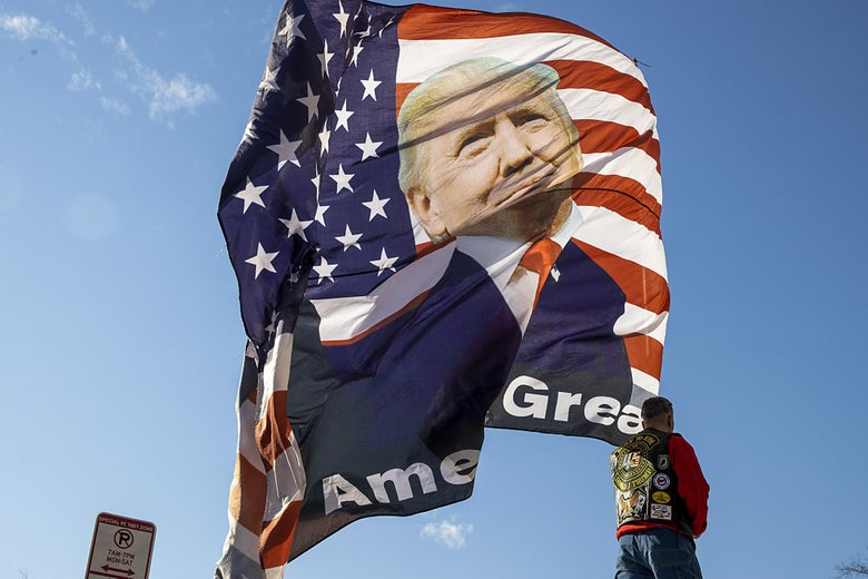 Person standing under a giant MAGA flag with Trump's face on it, waving against a blue sky in Washington