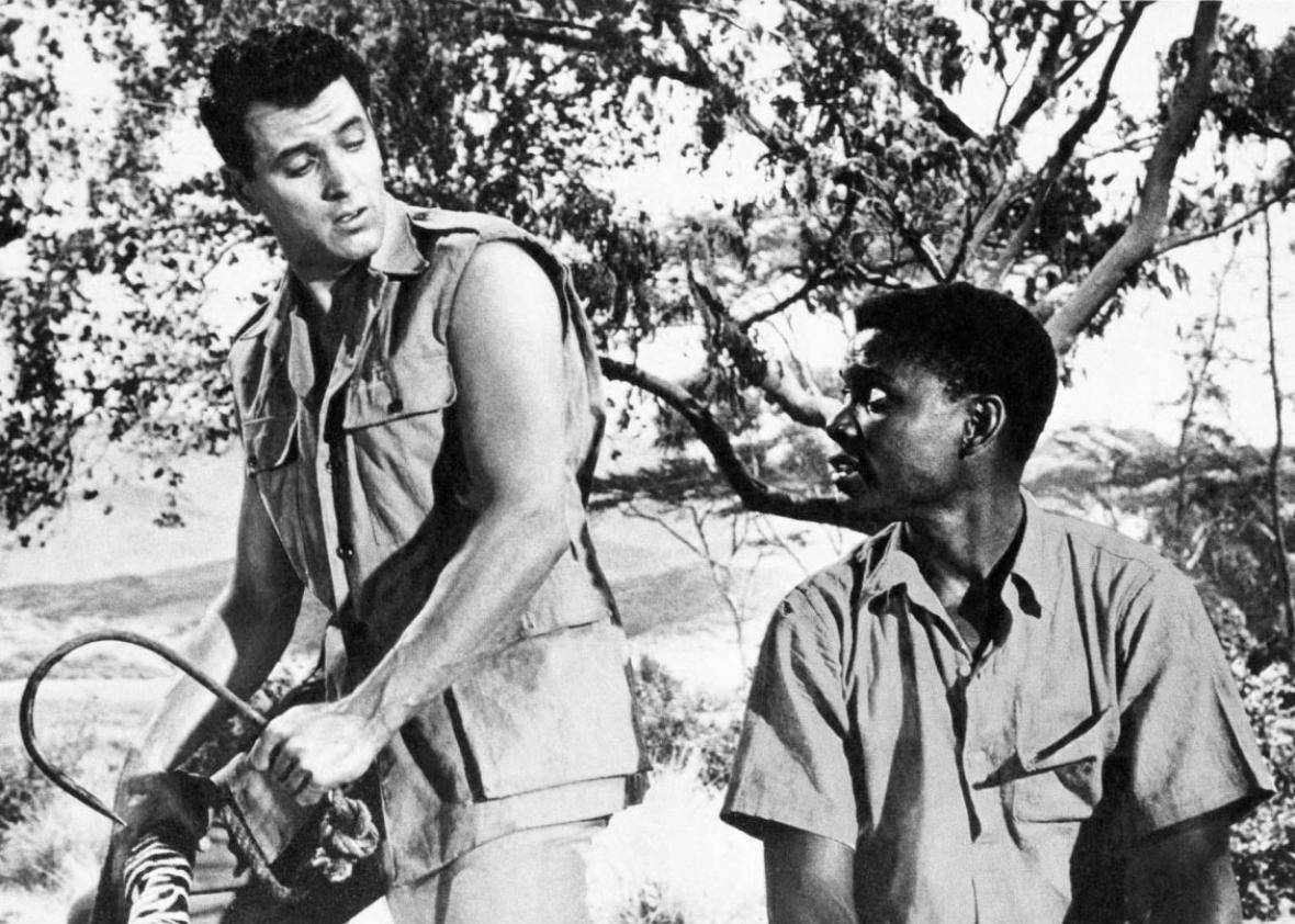 Rock Hudson and Sidney Poitier in Something of Value.