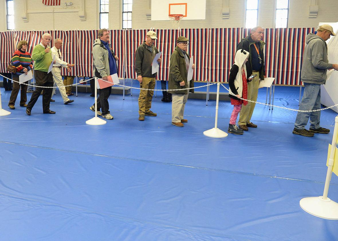 Voters line up to cast their ballots at the Green Street Community Center