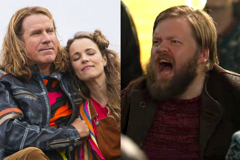 Side-by-side stills of Will Ferrell and Rachel McAdams reclining in brightly colored clothing and the Jaja Ding Dong Guy yelling at them