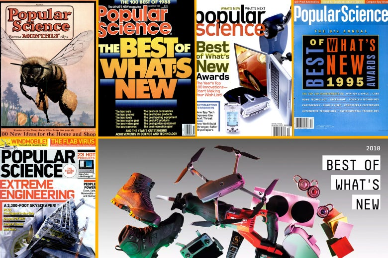 "A collage of Popular Science ""Best of What's New"" covers."