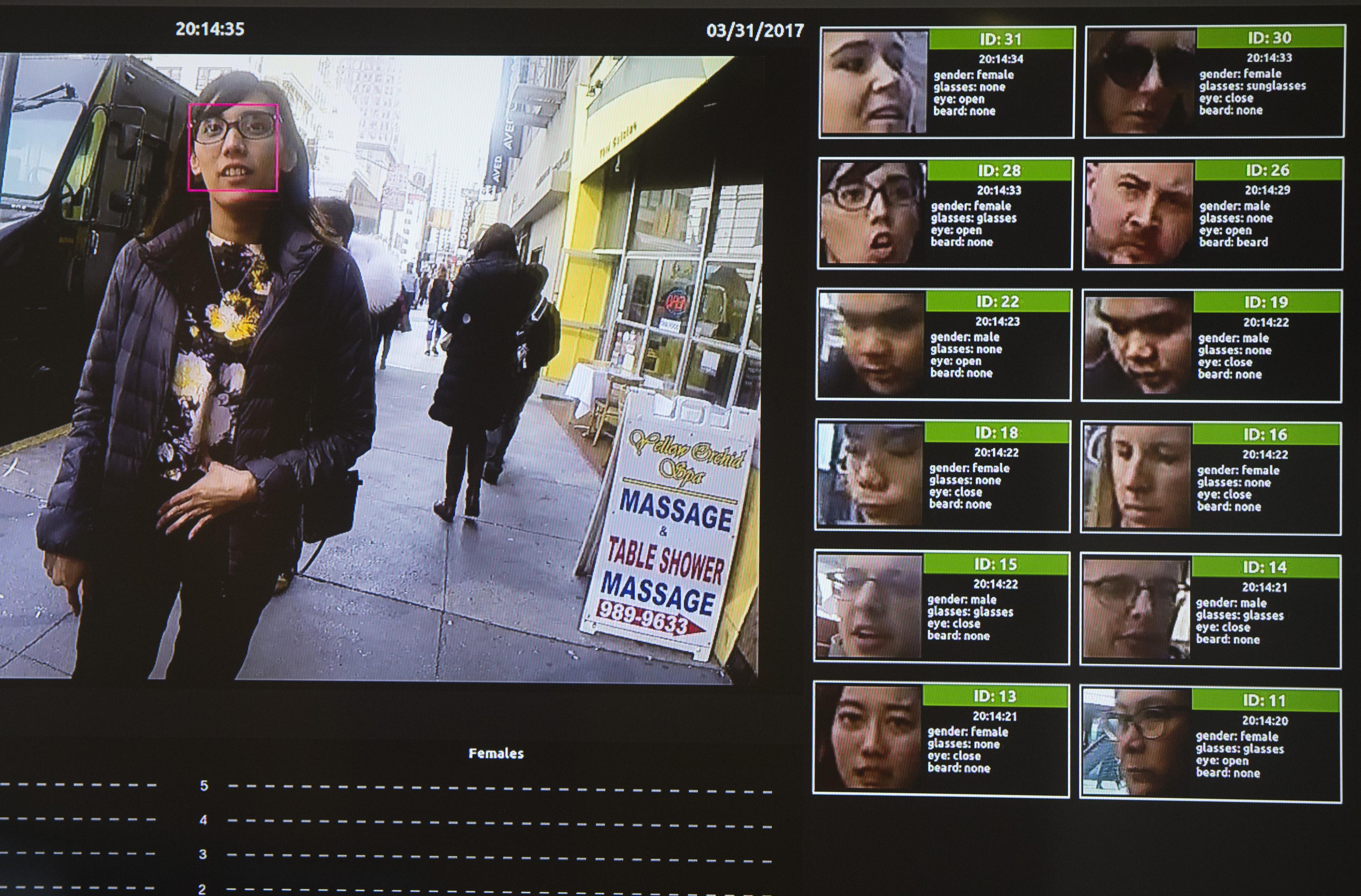 A facial recognition system for law enforcement on display during the NVIDIA GPU Technology Conference in 2017.