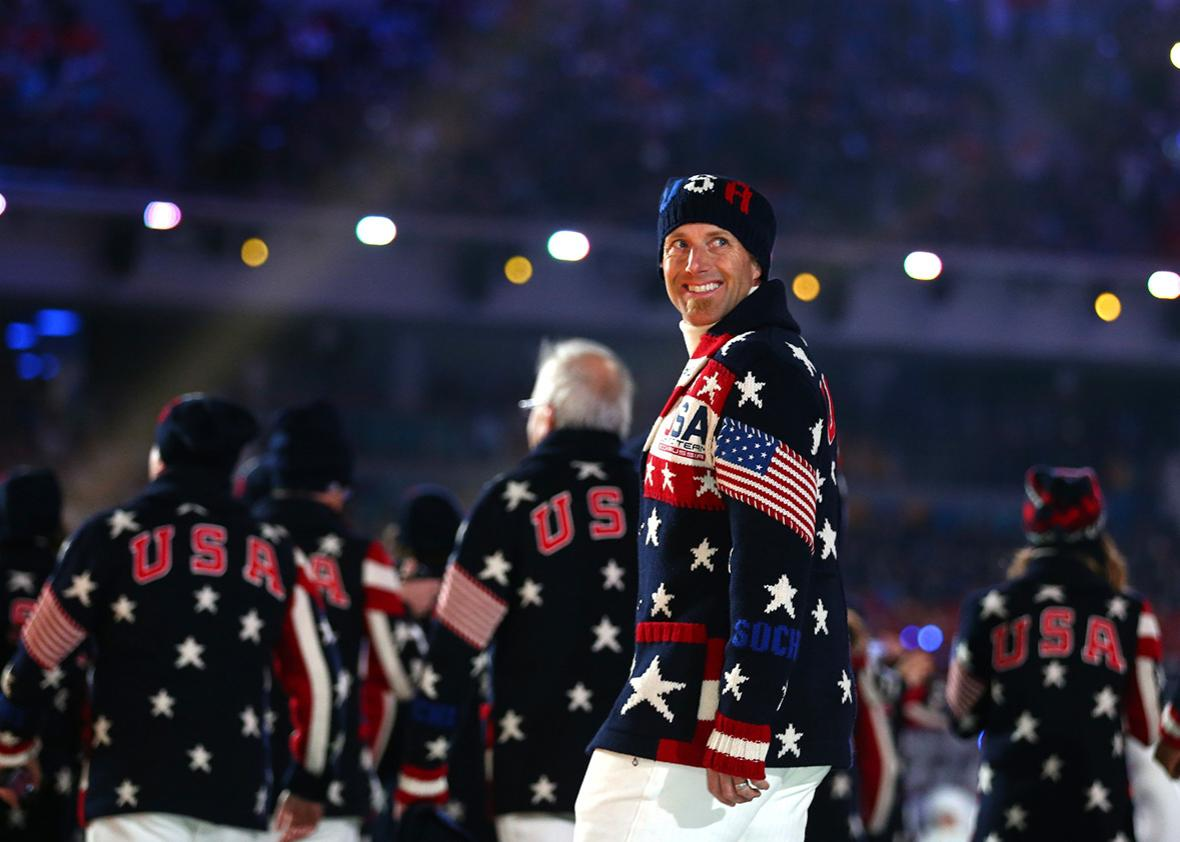 87942698bf9 Team USA enters the opening ceremony of the 2014 Sochi Winter Olympics in  Russia.
