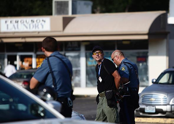 Scott Olson arrested in Ferguson, Missouri.
