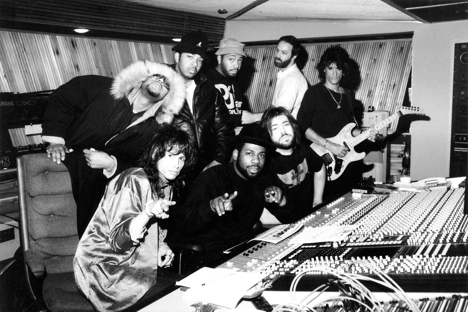 Members of Run-D.M.C. and Aerosmith at Magic Venture Studios.