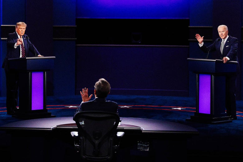 Donald Trump, moderator Chris Wallace, and Joe Biden on stage for the first presidential debate of 2020.