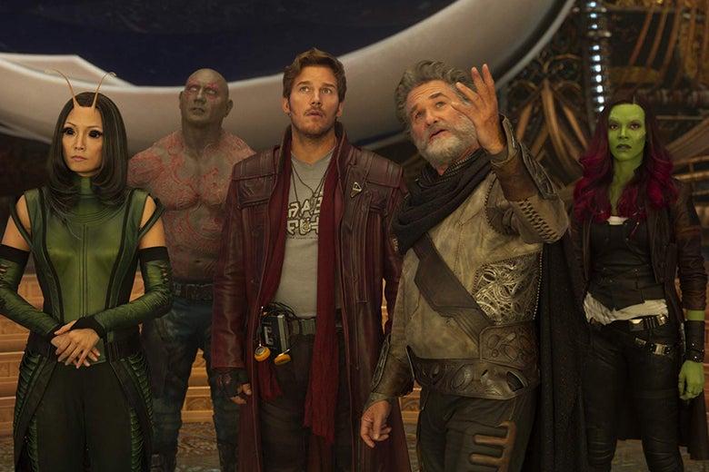 Pom Klementieff, Dave Bautista, Chris Pratt, Kurt Russell, and Zoe Saldana.