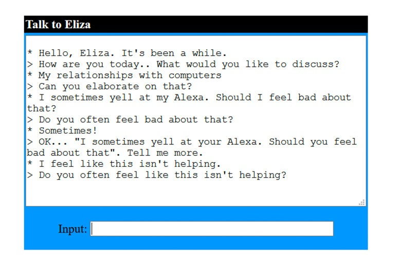 An unhelpful conversation with ELIZA