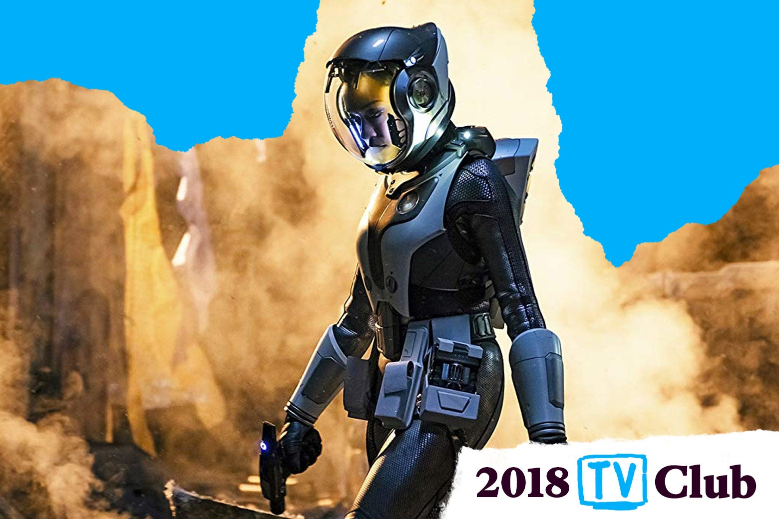 Still of spacesuited person from Star Trek Discovery with TV Club 2018 logo
