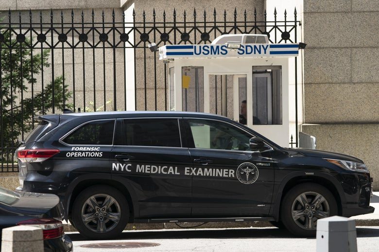 A New York Medical Examiner's car is parked outside the Metropolitan Correctional Center where financier Jeffrey Epstein was being held, on August 10, 2019, in New York.