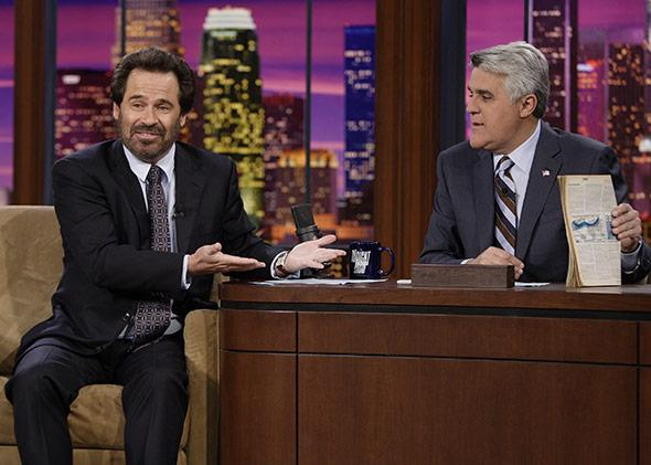 THE TONIGHT SHOW WITH JAY LENO -- Episode 3265 -- Pictured: (l-r) Actor Dennis Miller during an interview with host Jay Leno on December 5, 2006