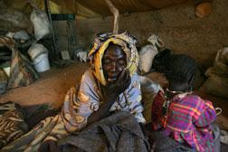 An elderly Sudanese refugee sits in her tent in the Oure Cassoni Refugee Camp. Click image to expand.
