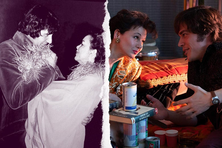Side-by-side of Mickey Deans and Judy Garland, and Renée Zellweger as Judy Garland with Finn Wittrock as Mickey Deans in the movie Judy.
