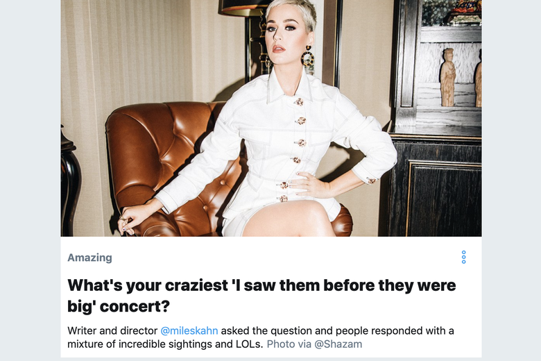 A Twitter Moment featuring a photo of Katy Perry.