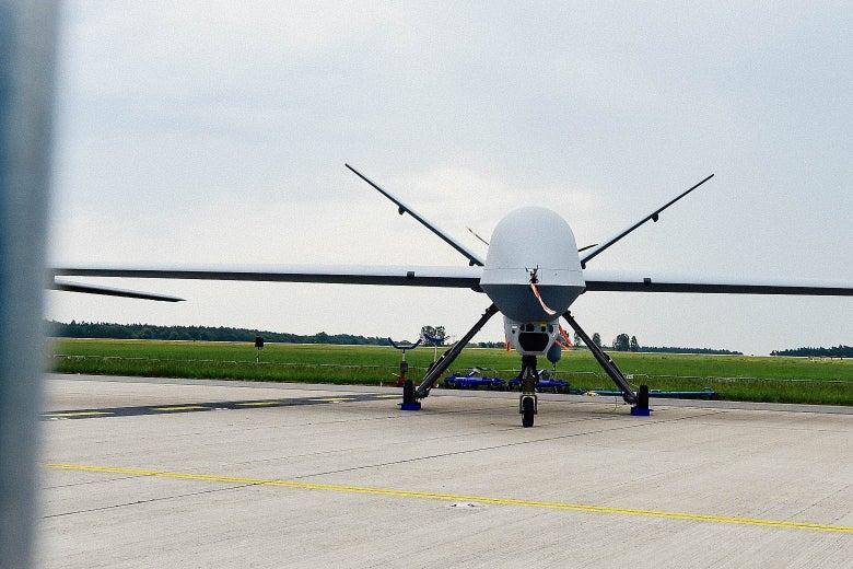 A Predator MQ-9 drone on display at the International Aerospace Exhibition near Berlin on May 30, 2016.