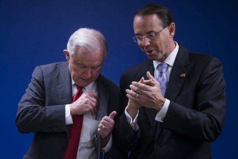 Attorney General Jeff Sessions and Deputy Attorney General Rod Rosenstein speaking in Washington, D.C..