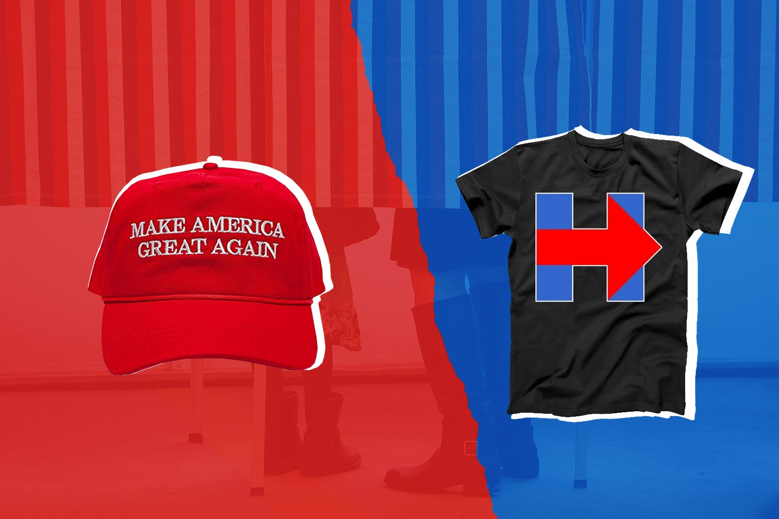 Make America Great Again hat in red and a Hillary Clinton shirt.