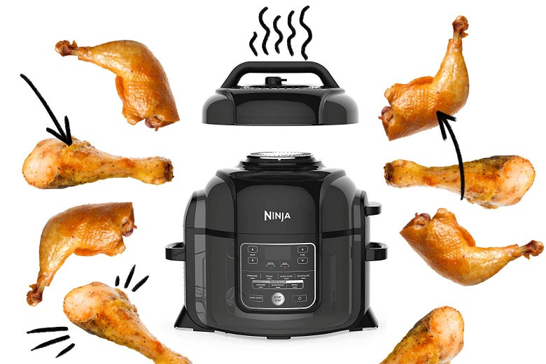 Ninja Foodi multicooker surrounded by pieces of chicken