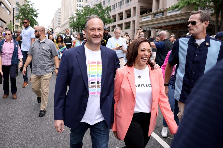 Vice President Kamala Harris and husband Doug Emhoff join marchers for the Capital Pride Parade on June 12, 2021 in Washington, D.C.