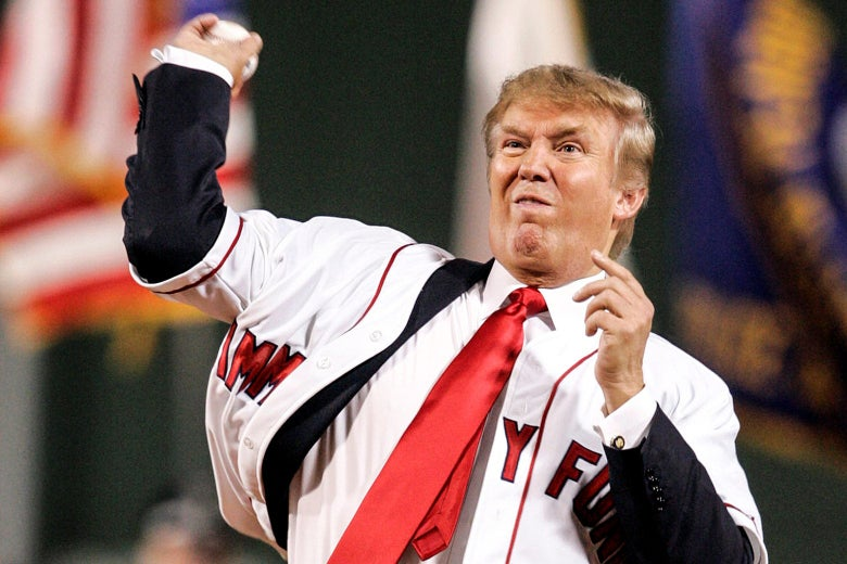 Donald Trump throwing a pitch in 2006.