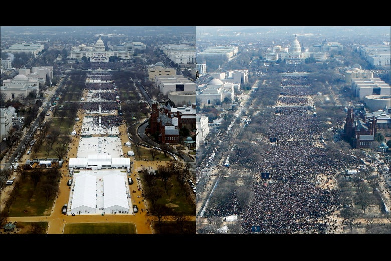 Two photos from the same elevated perspective showing the National Mall