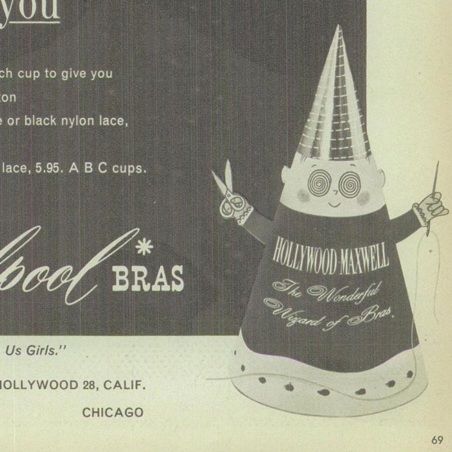 """A drawing of """"The Wizard of Bras,"""" a conical-shaped creature with spiral eyes."""