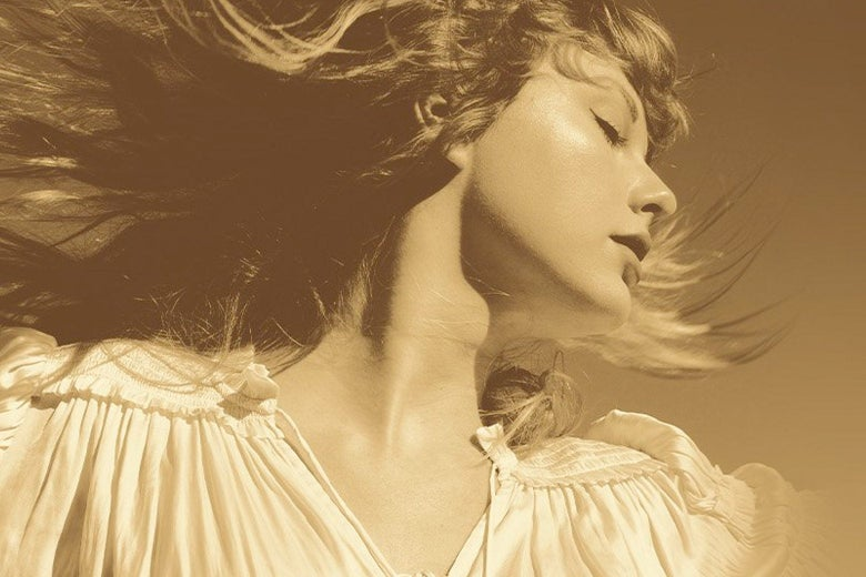 Sepia portrait of Taylor Swift with her face turned and hair blowing out