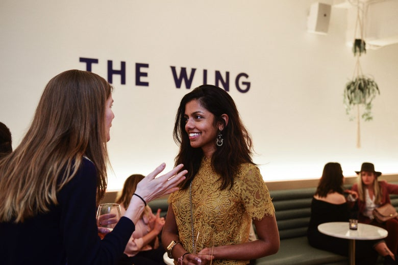 Guests are seen during the Wing D.C. opening celebration in Georgetown on Tuesday in Washington.