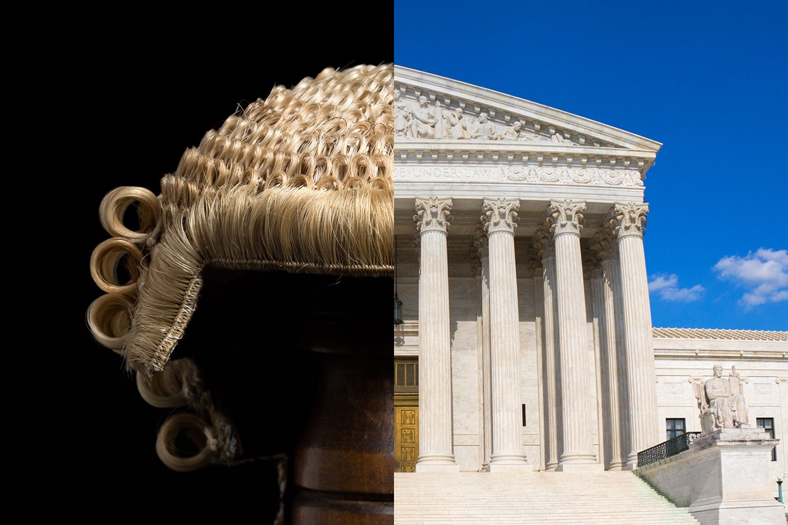 A diptych of a barrister's wig and the U.S. Supreme Court building.
