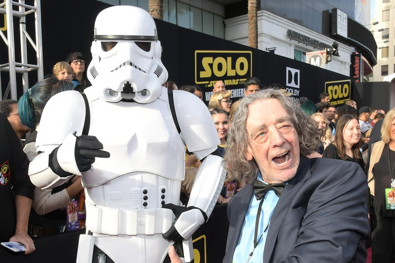 Peter Mayhew with a stormtrooper.